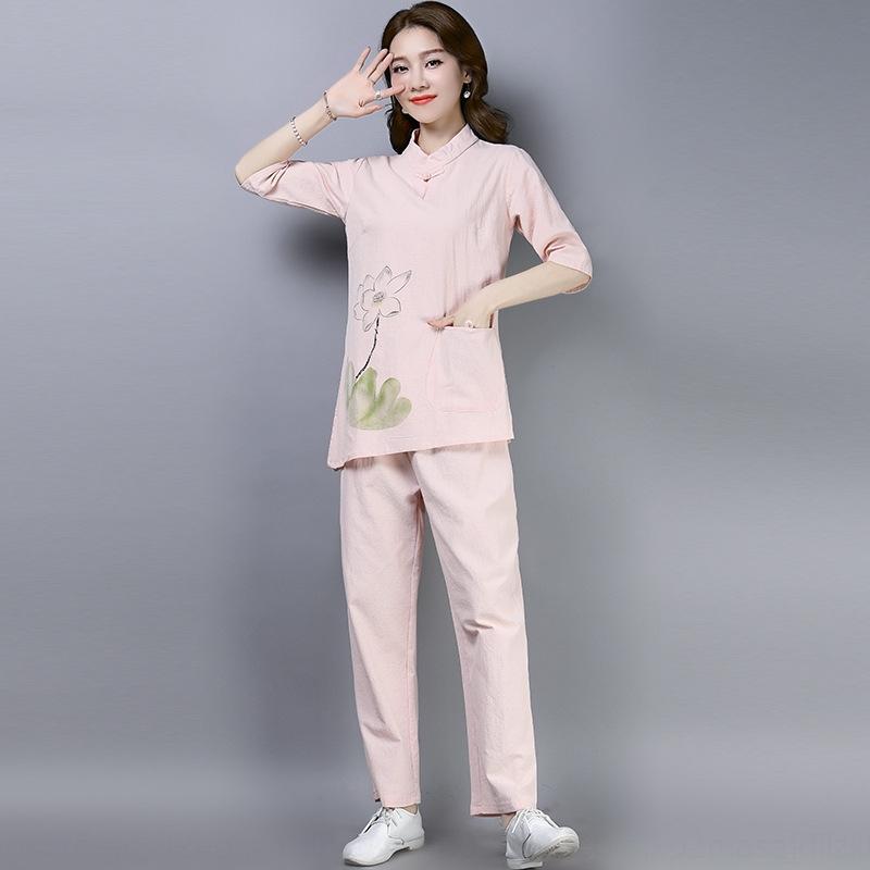 2020 tè decorazione delle donne del cotone e lino in stile Zen Zen in cotone e vestiti padrone di casa vestiti di tela di stile cinese buddisti sui svago