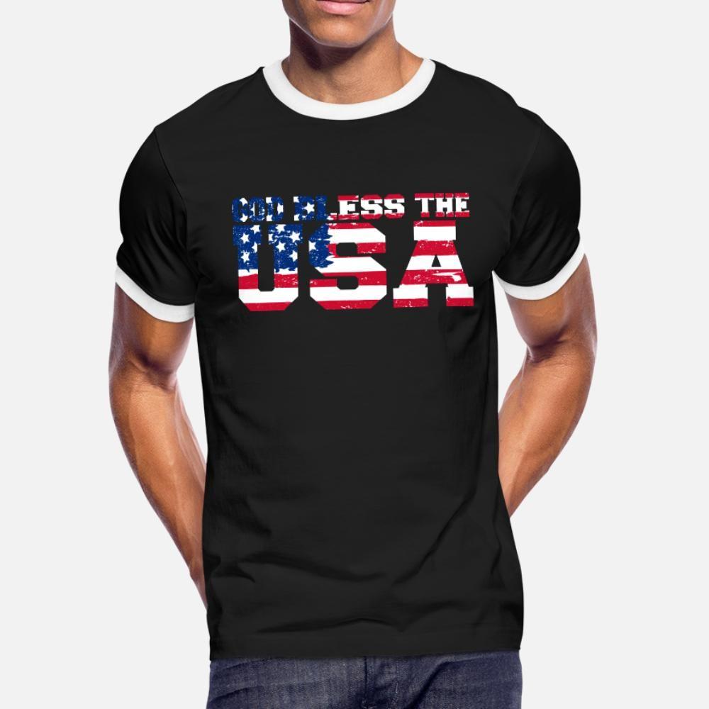 God Bless США God Bless США тенниски людей Designs 100% хлопок O шеи Костюм Cute дышащего Summer Style Стандартной рубашки