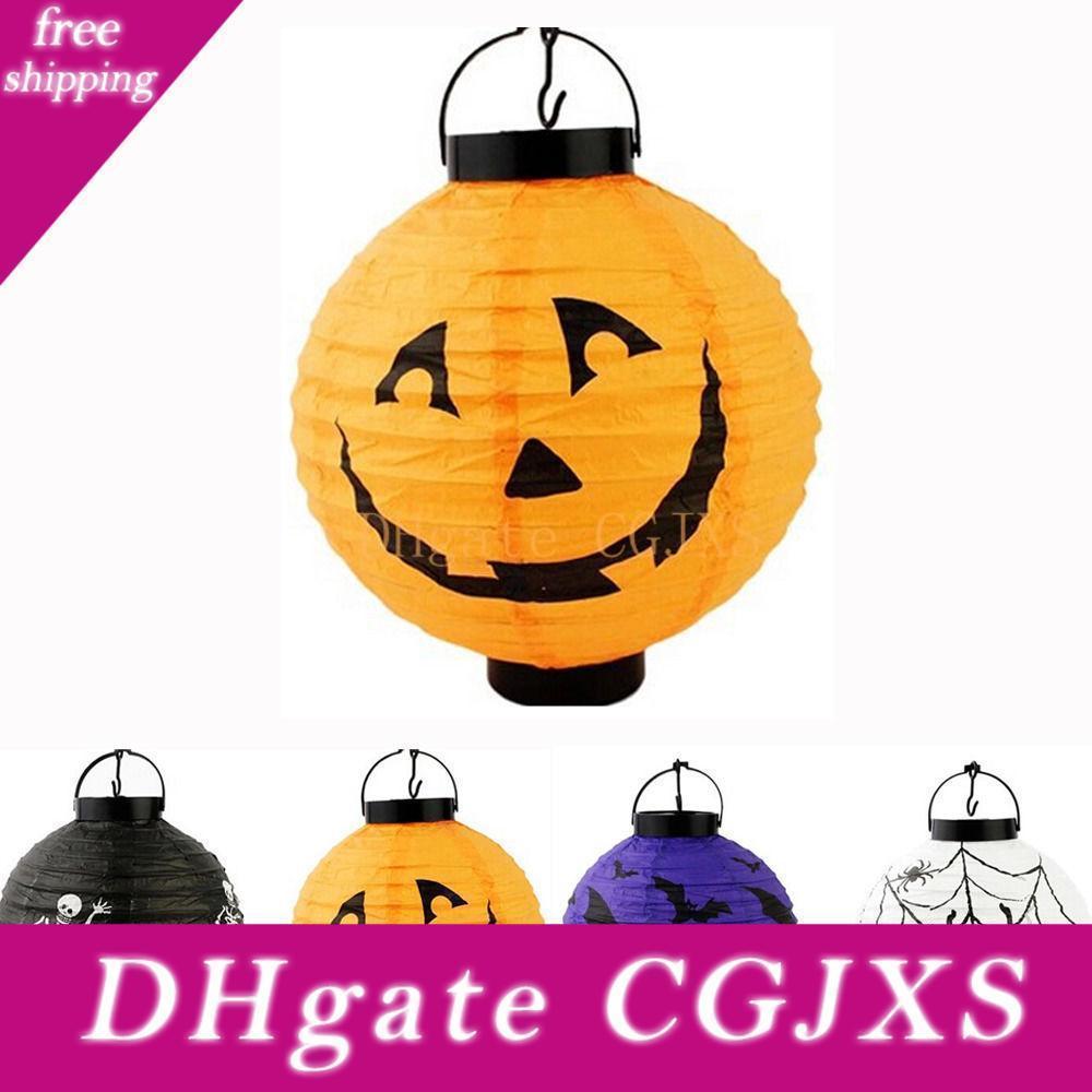 Festivo Halloween Led Papel fantasma da abóbora Lanterna de suspensão Holiday Decor Light Party