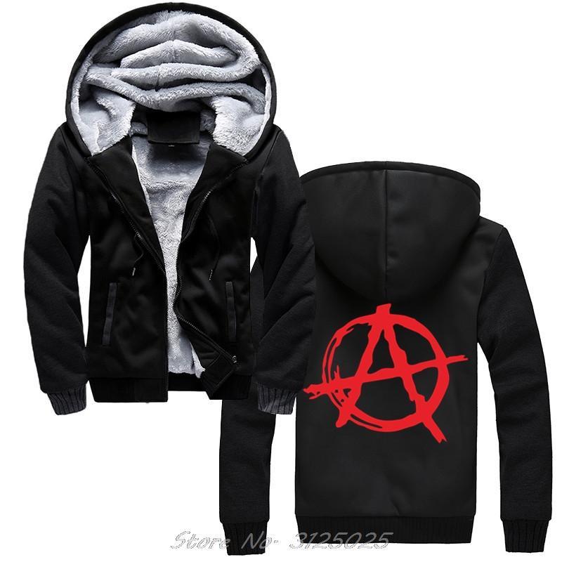 Simbolo di anarchia con cappuccio Punk Rock Bedlam Male anarchica Guerra Rocker cotone con cappuccio di inverno degli uomini caldo di spessore Zipper Felpa