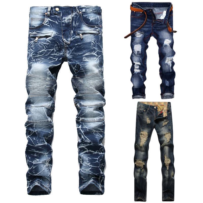 Pantalones vaqueros para hombres Hombres de alta calidad rasgados casuales lavados Slim Slim Pleated Motorcy Pantalones Pantalones de mezclilla masculinos Pantalones de mezclilla más Tamaño 42