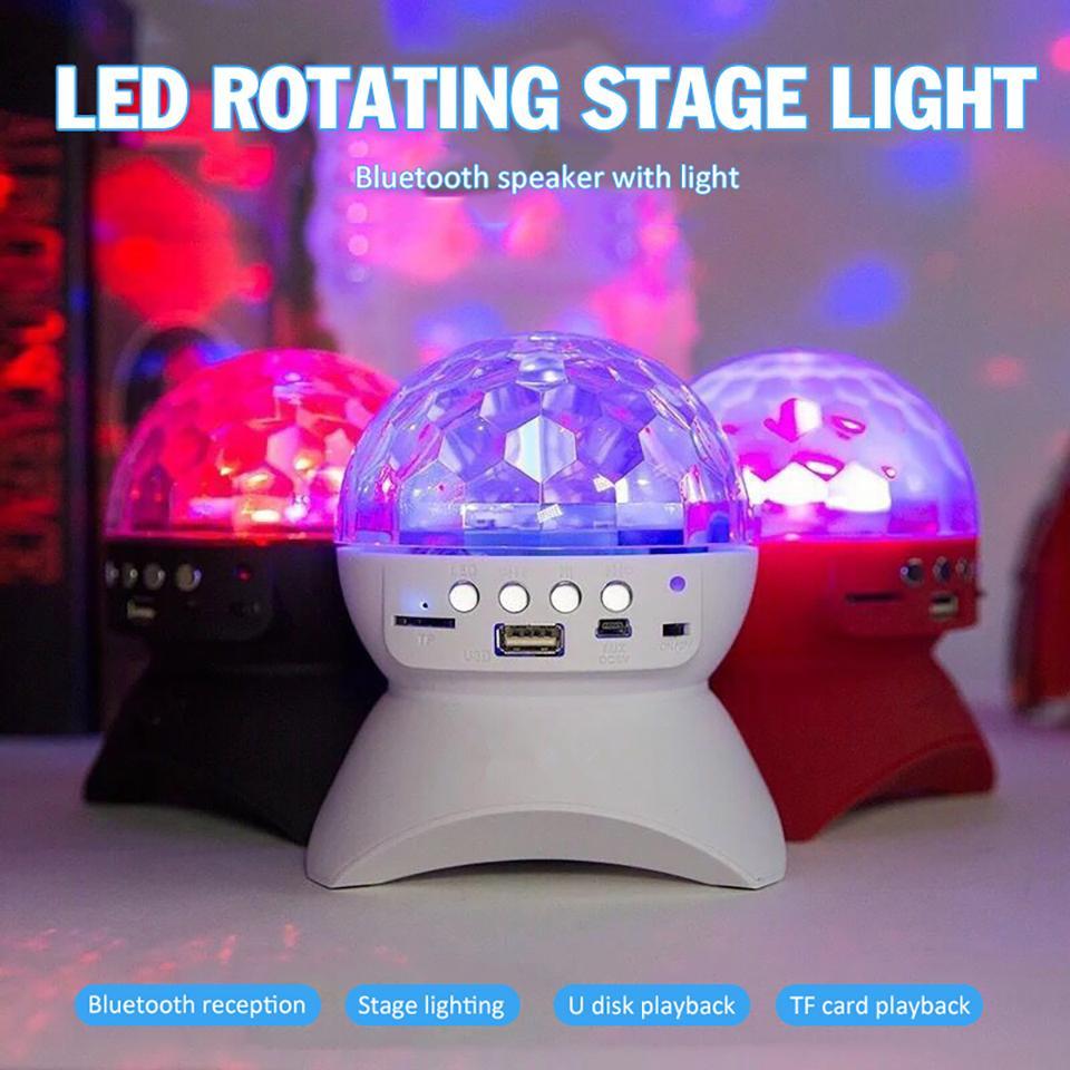 إضاءة قابلة للشحن لاسلكي سماعات بلوتوث وحدة تحكم ضوء LED البلورة السحرية الكرة تأثير الضوء DJ نادي ديسكو حزب