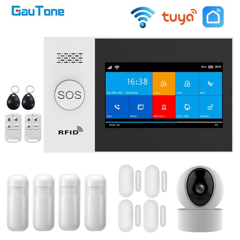 GauTone PG107 واي فاي GSM نظام انذار للإنذار الأمن الرئيسية دعم تويا APP بعد Contorl متوافق مع كاميرا اليكسا مع IP