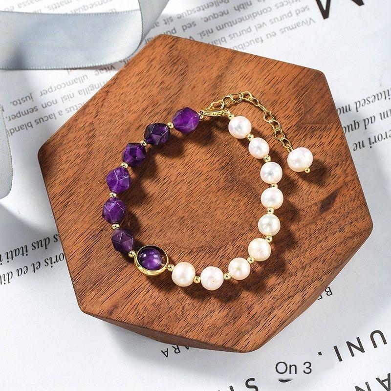 Lightnatural perla dell'acqua dolce misterioso spinello multi-cut Pearl braccialetto perline ins braccialetto nicchia di stile per le donne