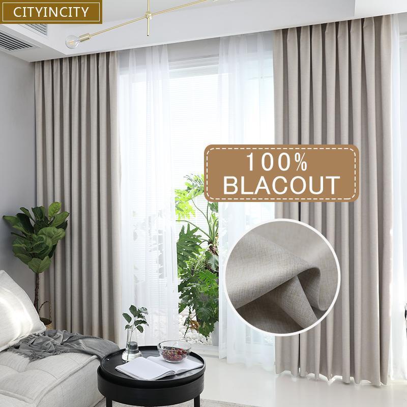 1PCS Solide 100% Blackout Vorhang für Wohnzimmer Wohnkultur Thick Faux Leinen Vorhänge für Schlafzimmer Ready Made