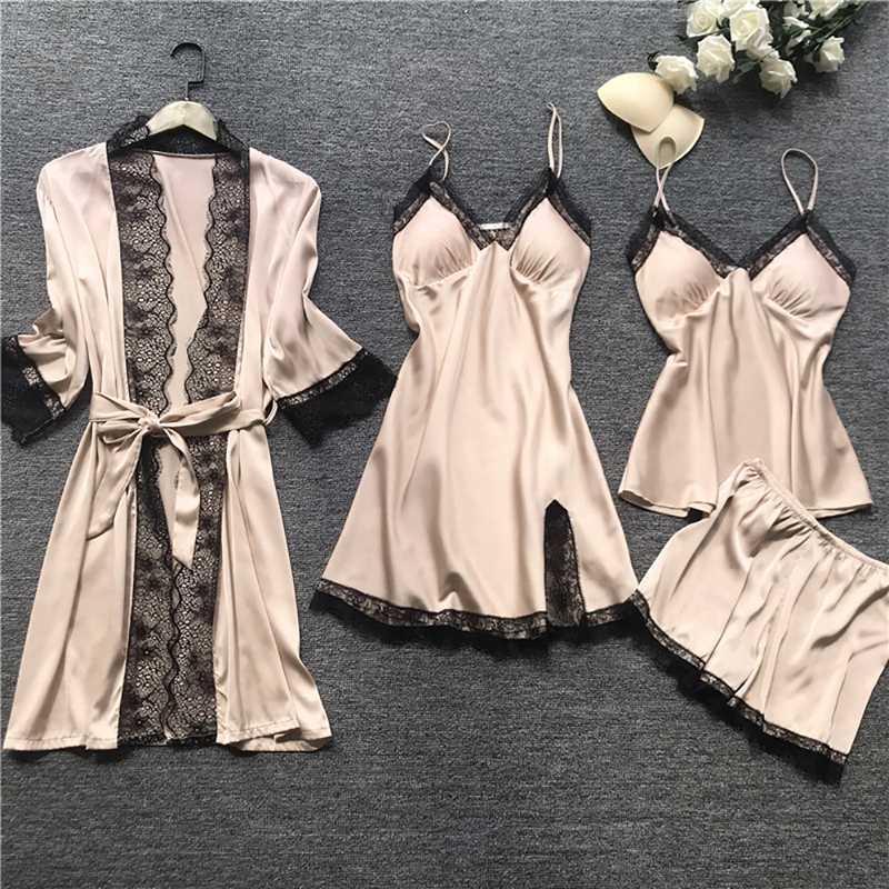 Frauen 4-teiligen Nachtwäsche-Bügel-Spitze-Schlaf Lounge Pyjamas mit Chest Pads Frauen-Pyjamas Sets Satin Nachtwäsche Silk Startseite Wear