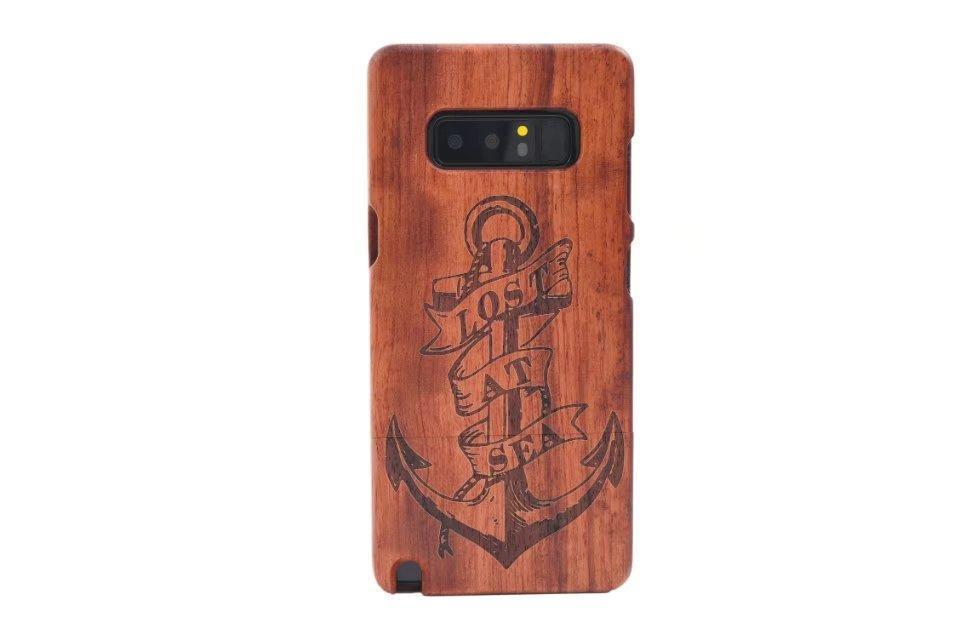 Flor retro cgjxs escultura em madeira PC Phone capa para Samsung Galaxy Note 8 Natural de madeira dura da tampa do caso