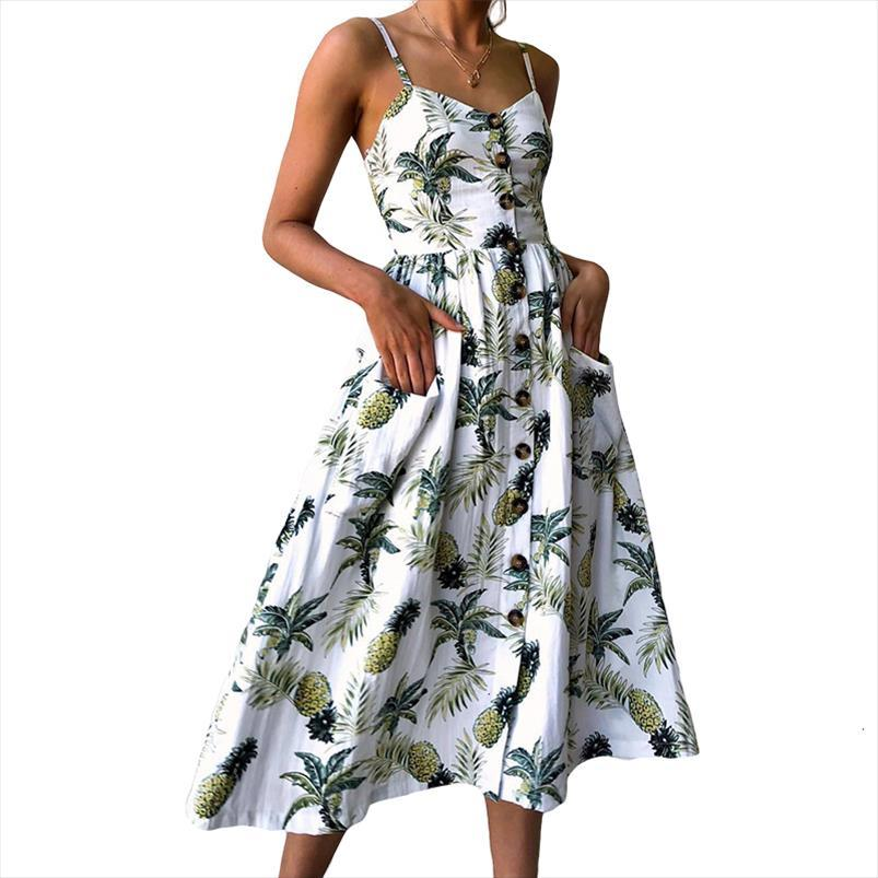 Sexy V шея Backless Цветочного лето пляж платье Женщина 2020 Белый Boho Полосатого Кнопка Подсолнечной Daisy Ананас партия Midi платье