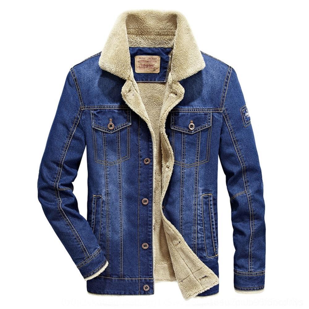 VOexU Denim Baumwolle gefütterte Herren-Stil verdickt lässige Jacke Fleece Cotton-padded Wolle Jacke Wolle große amerikanische 6X verlieren