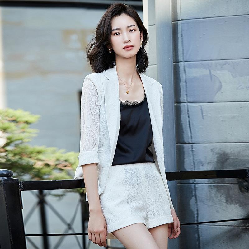HrKNA Mode Set Jacke Sommer neue weiße Spitze zweiteilige Hohl aus dem koreanischen Art 2020 Temperament Häkelspitze Klage Jacke Frauen
