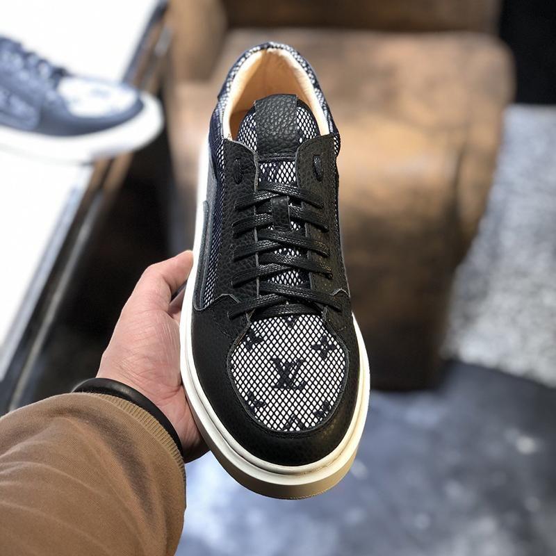 2021u Nuevo Diseño de lujo del cuero de alta calidad imprimió la suela de goma zapatillas de deporte para hombre de la moda salvaje zapatos ocasionales de los hombres '; S banquetes tamaño de los zapatos: 38