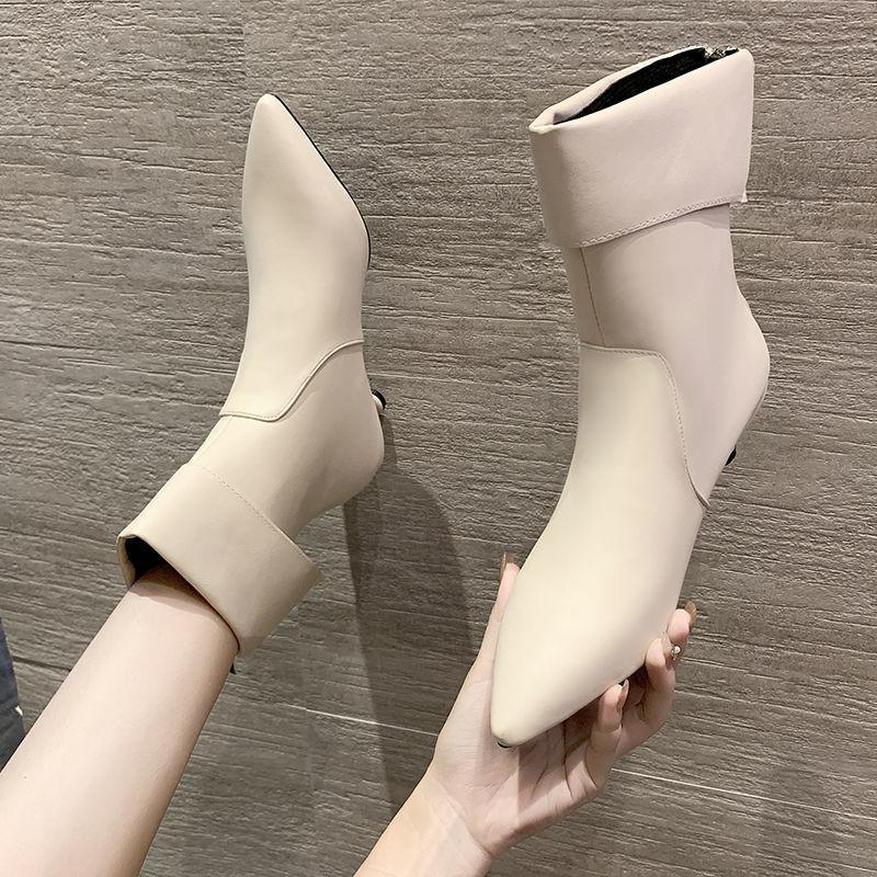 Mujeres Botas otoño las botas del tobillo de la PU talones de cuero fino bajo corto del dedo del pie zapatos de punta Mujer Botas Mujer tamaño 35-39 Beige Negro