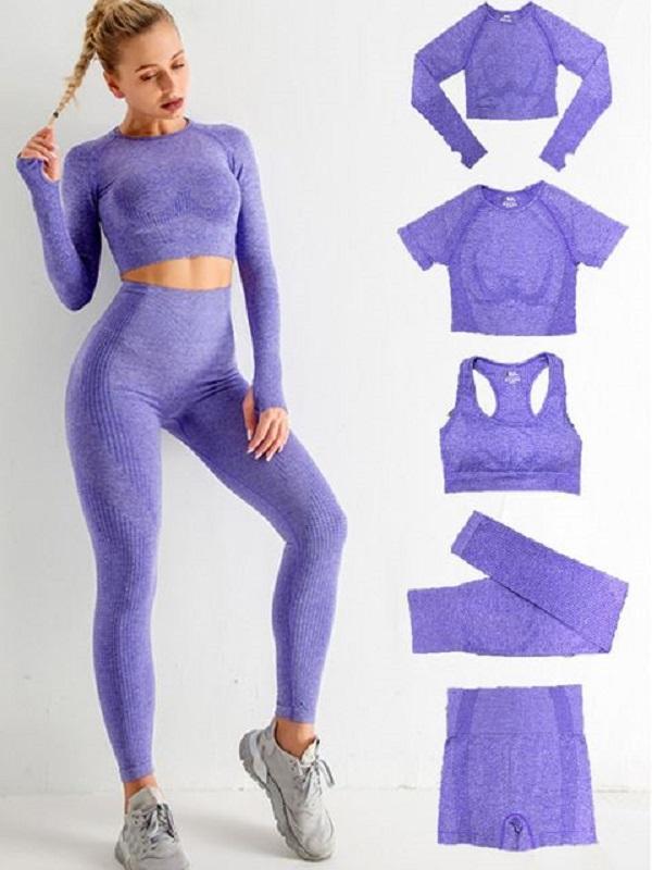 Eşofman Bayan Spor Giymek Hayati Sorunsuz Yoga Set Egzersiz Spor Gym Giyim Gömlek Uzun Kollu Üst Tayt Katı Spor 5 adet T Shirt Şort Sutyen Pantolon