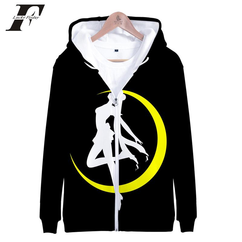 Sailor Moon Zipper Hoodies 3D Women's Hoodies/sweatshirts Japanese Cartoon Long Sleeve Kawaii Aesthetics Anime