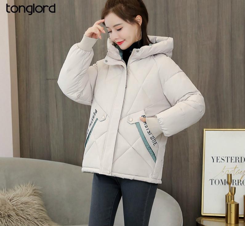 Tonglord 2020 neue Daunensteppjacke Frauen Short koreanische Art-lose aufgefüllte Jacke arbeitet mit Kapuze dicken Winter
