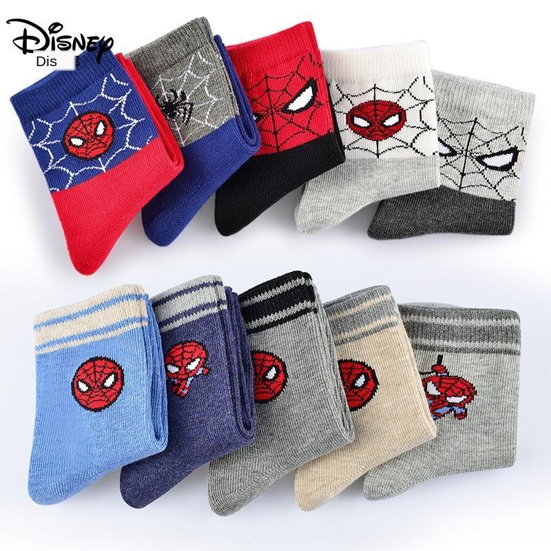 Spider-Man Kinderkinderkinder Baumwollkinder Jungen Baby Baumwolle Socken Jungen im Frühjahr und Herbst Socken
