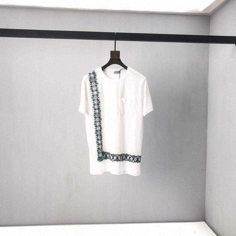 2020ss primavera y el nuevo algodón de alto grado del verano impresión de manga corta ronda panel de cuello de la camiseta Tamaño: M-L-XL-XXL-XXXL Color: blanco y negro # g4nx