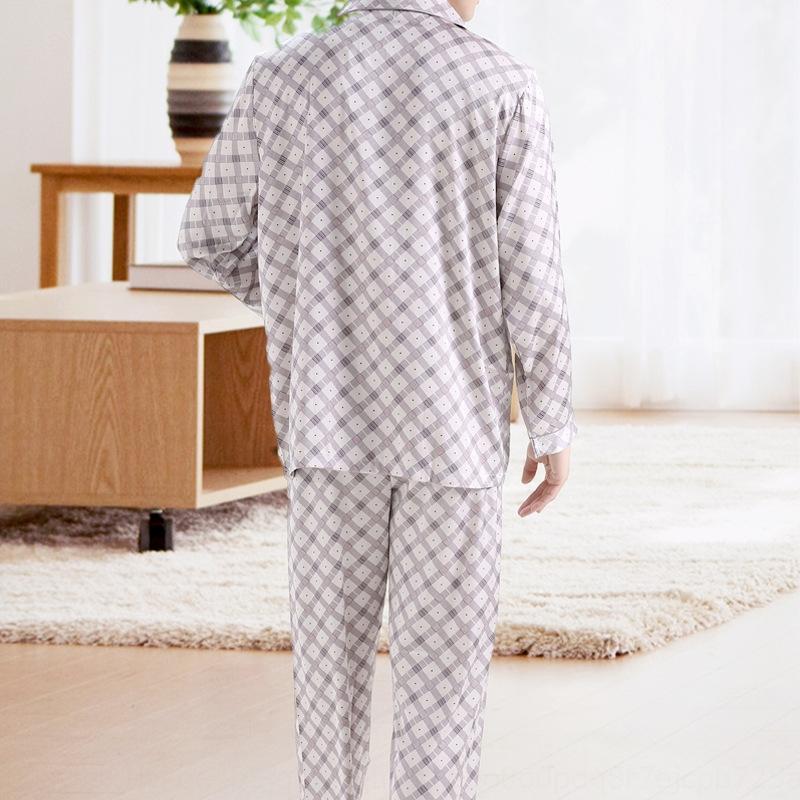 0nxfT Печатный геометрический шелк пижамы мужские весенние и летние одежды одежда домашнего интерьера одежда одежда рукав рубашки тонкий костюм дома длинный