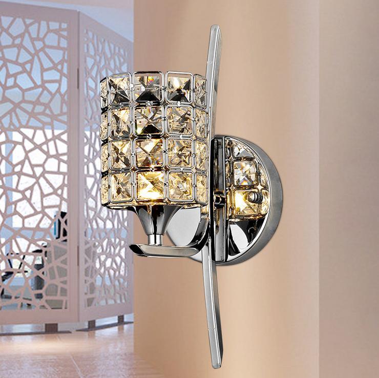 Crystal Wall luz moderna cromo pulido Base de estar / estudio / comedor Corredor de luz ambiental de noche lámpara de pared Led Espejo Lámpara Lámparas Luz