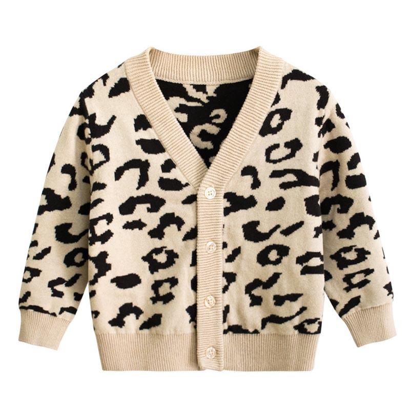 2020 Autumn Baby Girl Boys Sweater Cardigan Leopard Print Knitted Children's Single Breasted Sweaters for Kids Clothes Y200901