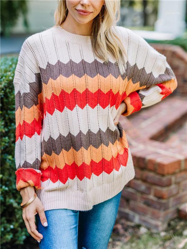 O-Boyun Moda Sonbahar Kış Gevşek Giyim Casual Örme Triko Bayan Tasarımcı Dalga Çizgili Patchwork Triko Womens