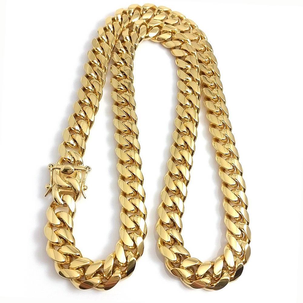 Золотой Miami Cuban Link Change Chem Ожерелье Мужчины Хип-хоп Из Нержавеющей Стали Ювелирные Изделия Ожерелья
