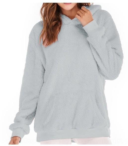 tO5Xs Новый капюшоном бархат утолщенной сплошной цвет большой размер женщин пальто пальто свитер свитер с карманами 9730 *