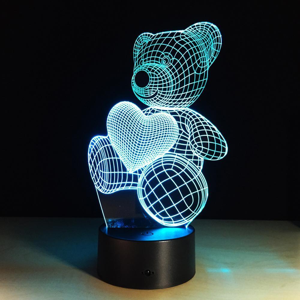 2020 neue Nachttischlampen und seltsame kleine Bär 3D-LED-Nachtlicht Induktion Nachtlicht kreative Smart-Home-usb-Schreibtischlampe