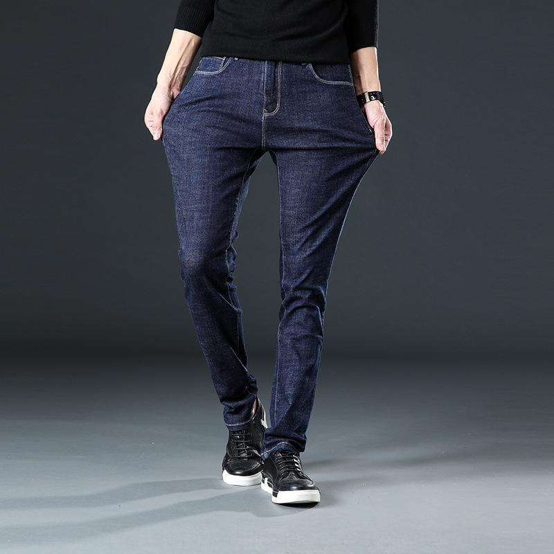 2019 colore solido grandi dimensioni jeans e jeans slim uomini stile casual autunno nuova coreana adattano i pantaloni elastici del polpaccio Byown