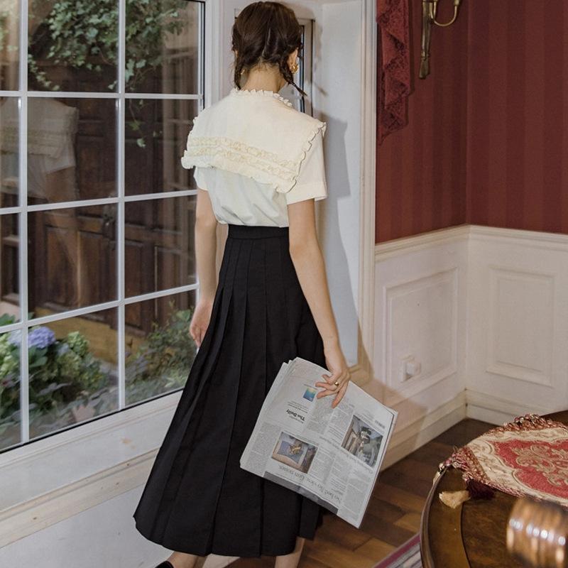 z8Y0N wTrBQ Britishgirls' negro plisado primavera / verano de la falda de la universidad británica Mujeres Britishgirls irregular 2020' plisada de mitad de longitud negro