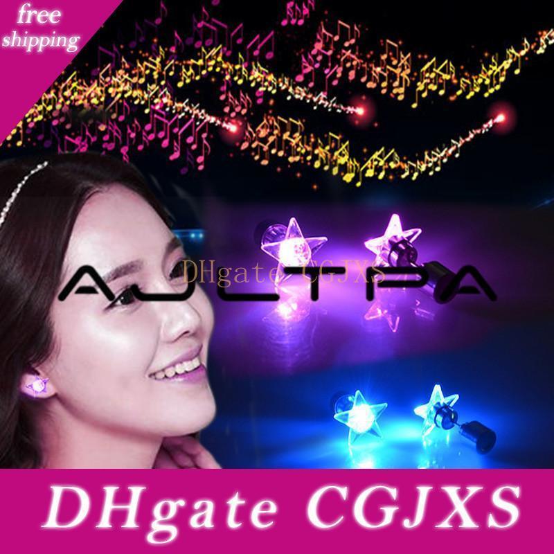 Rotonda della stella del cuore ha condotto l'orecchino Light Up prigioniera Orecchini Bright stella luminosa Ear Stud DJ Dance Party Bar Ragazze
