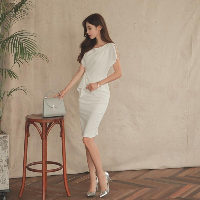 0FoXE TbLM8 2019 горе корейский бизнес средней длины платье Приталенный носить длинные юбки длинные юбки темперамент OL хип обернутый стиль Socialite элегантный S
