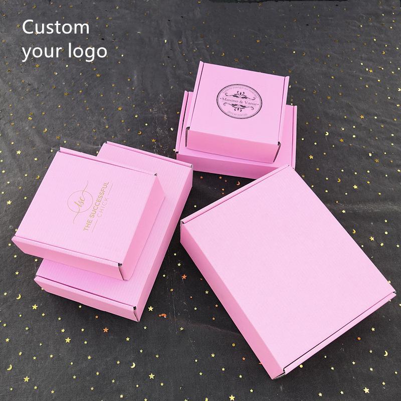 100шт / много Пользовательские логотип гофрированные упаковочные коробки упаковочной коробки с логотипом почтовой коробки для упаковки одежды волос париков подарок