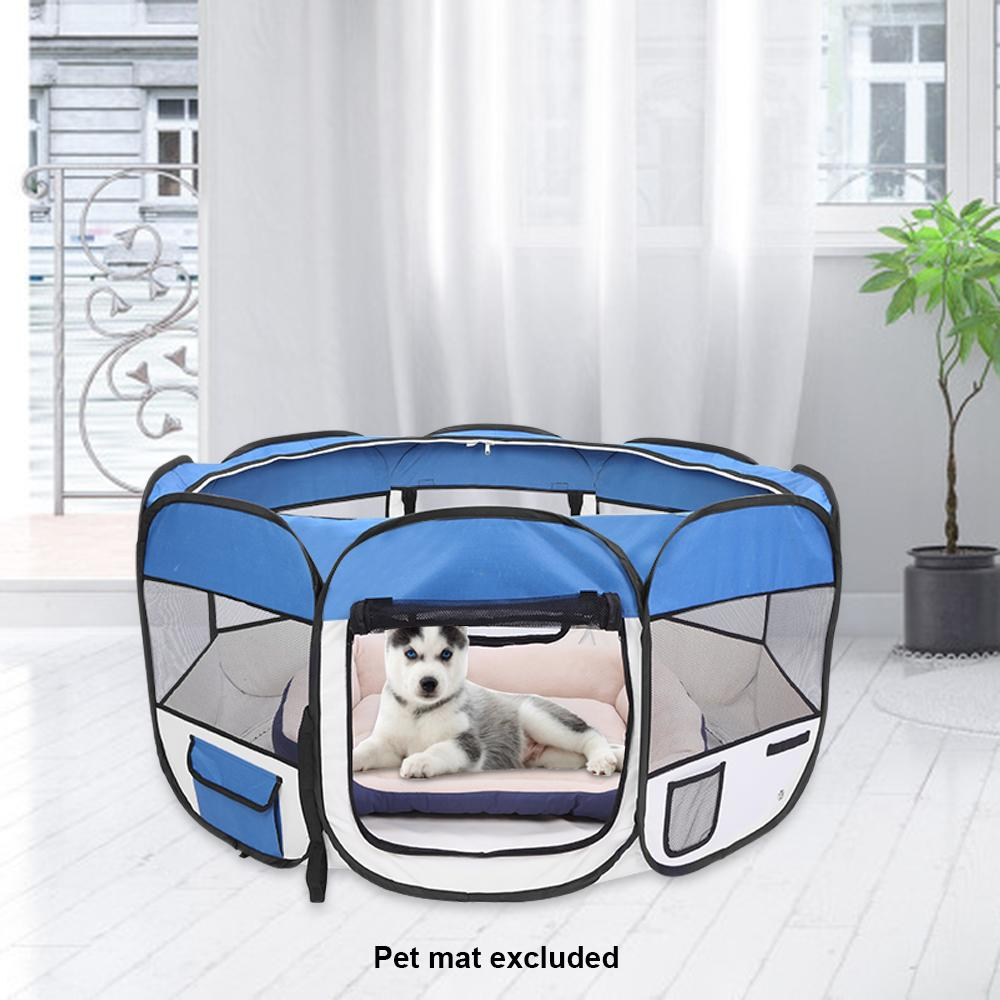 Foldable 36inch Portable Dog Cat Crate 600D Oxford Cloth & Mesh Pet Playpen Fence with Eight Panels Pet Puppy Soft Tent Blue New Arrival
