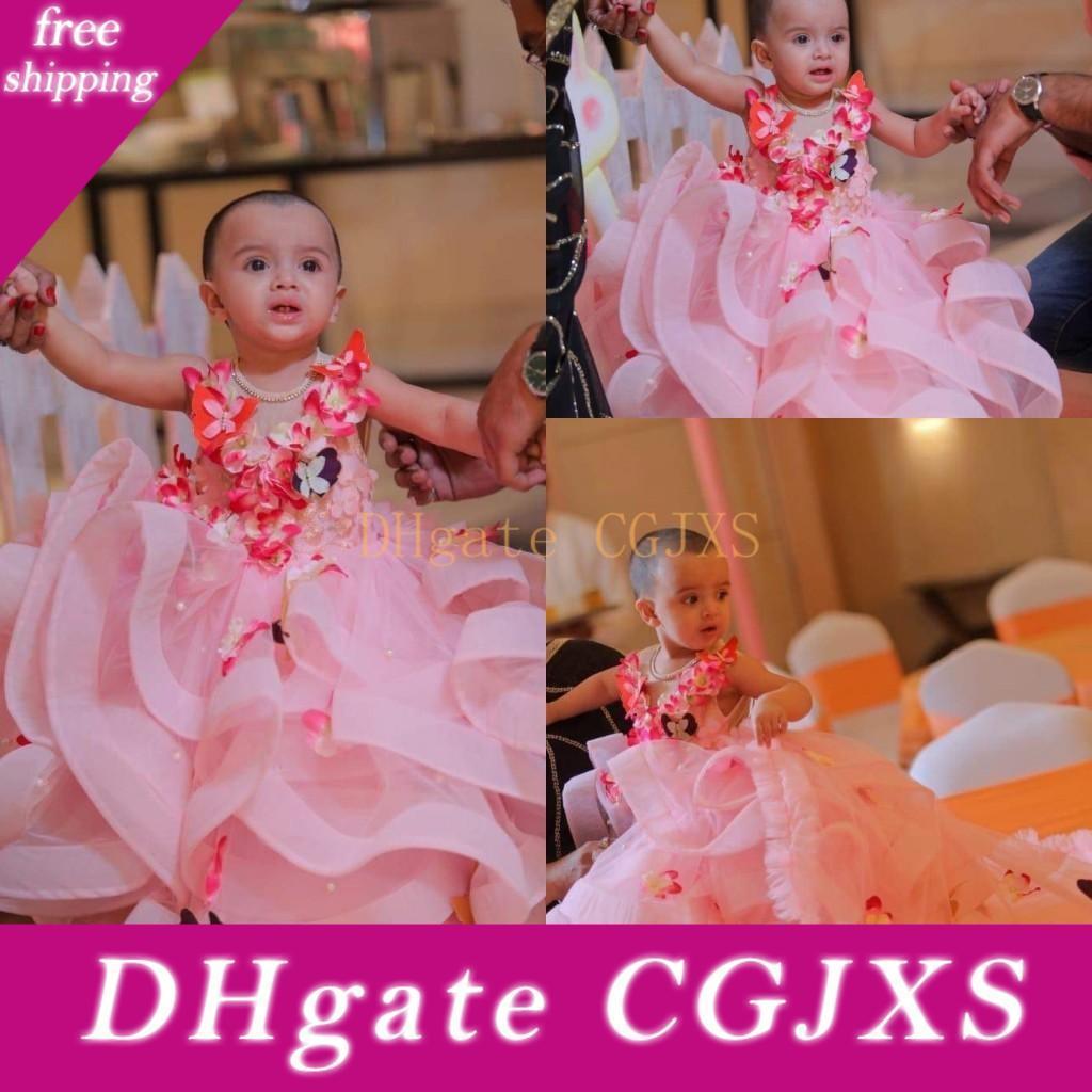 Vestir de rosa de tul Una Flor Línea vestido de niña de cumpleaños vestido de fiesta 2019 Vestidos mosca de la mantequilla 3d floral apliques capas de volantes niñas desfile