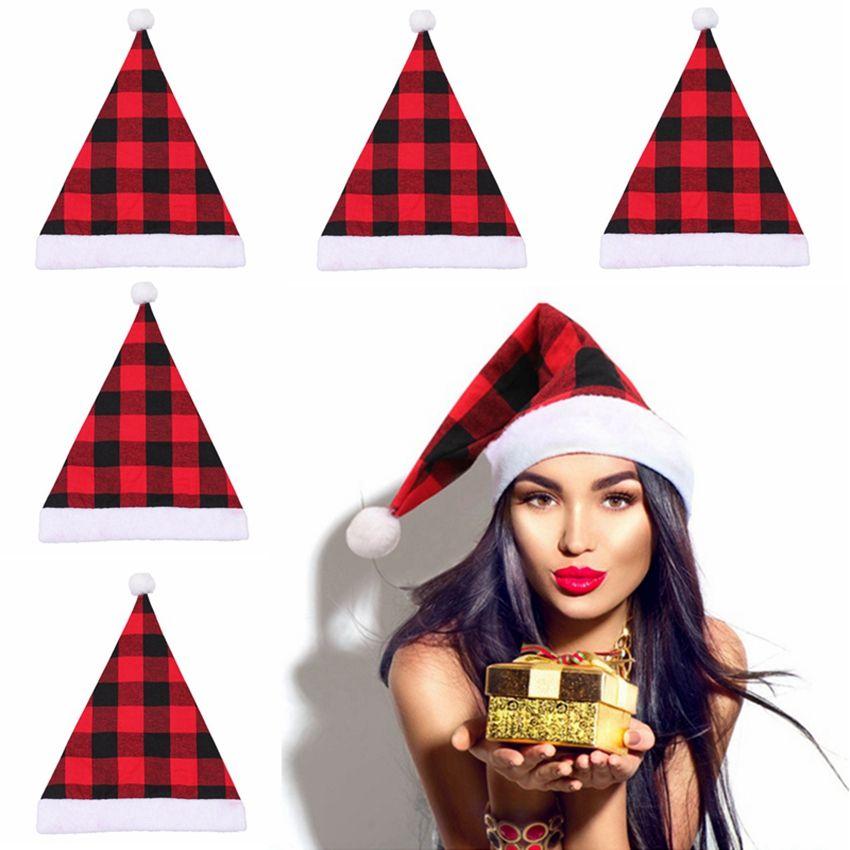 بوم سانتا قبعة عيد الميلاد منقوش القطيفة هات حفلة عيد الميلاد اللباس الديكور سانتا كاب هدية الكبار HHA1569