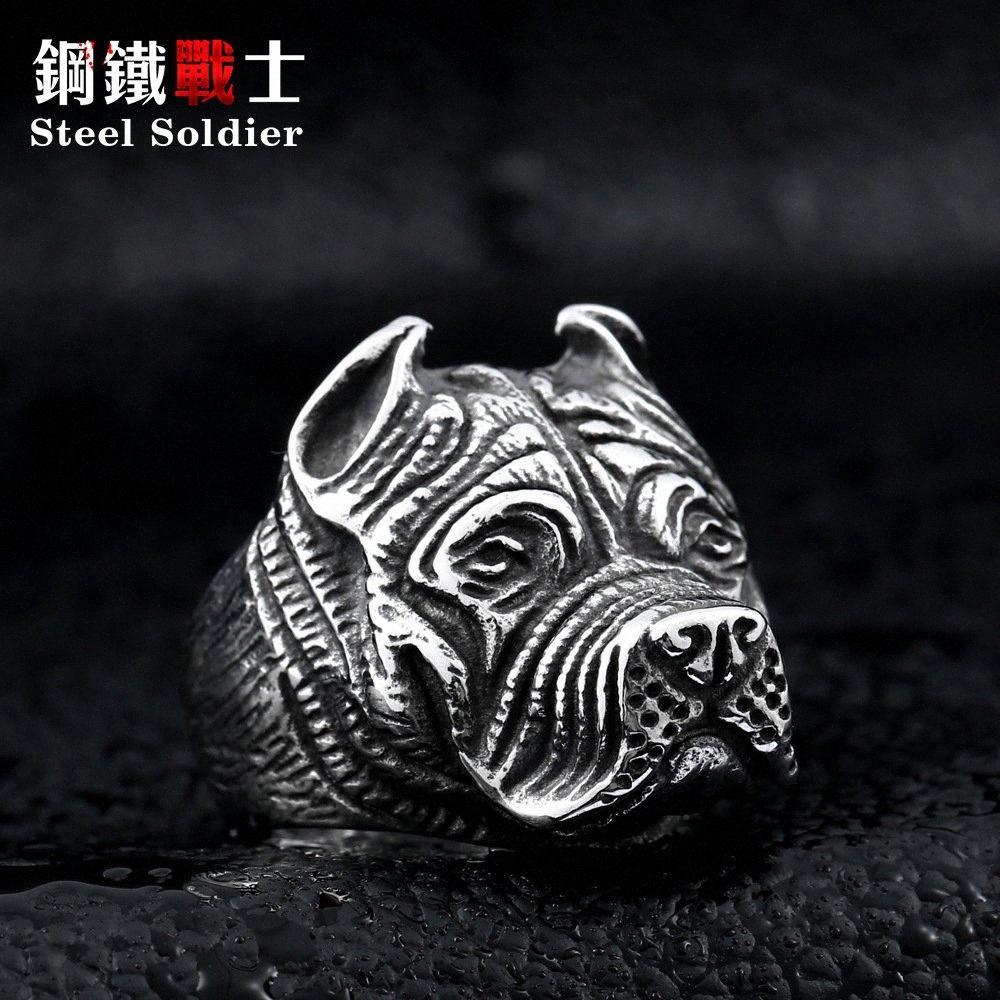 Paslanmaz Çelik Bulldog Yüzük Mens Punk Altın Gümüş Yüzük Takı Düğün Takı lH2T #