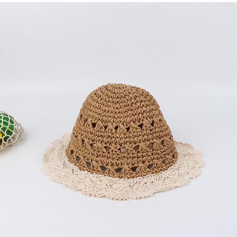 Детский летний ручной полым из соломы ребенок кружева края соломы ВС шляпу ВС шляпу Зонт