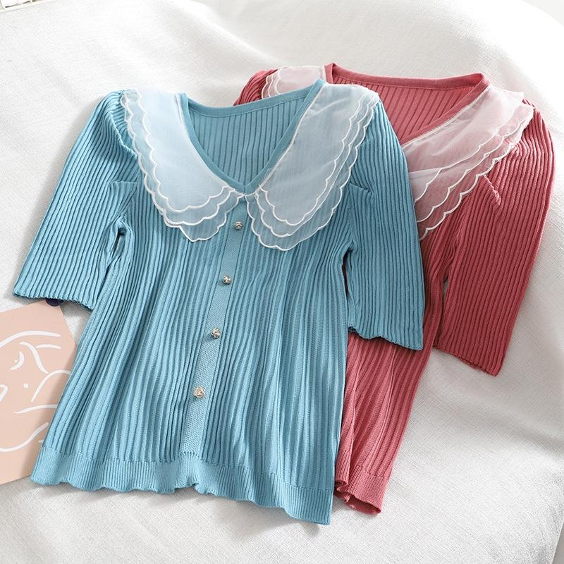 nt3tm Summer new Korean style hipster sweet Top Doll doll collar bubble sleeve solid color short slim knit top for women