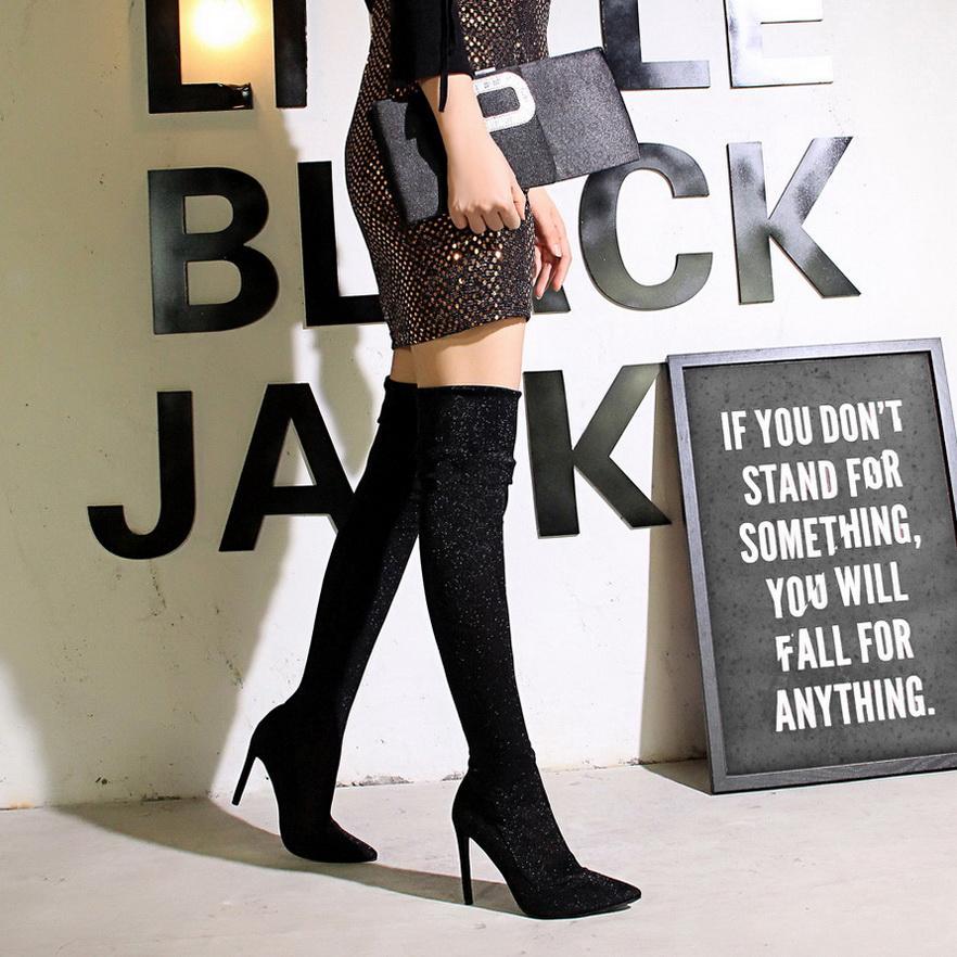 Eccellenti dell'alto sexy tacchi alti stivali coscia donne sopra gli stivali al ginocchio signore Autunno Inverno lunghi scarpe stivali di stampa leopardo nero