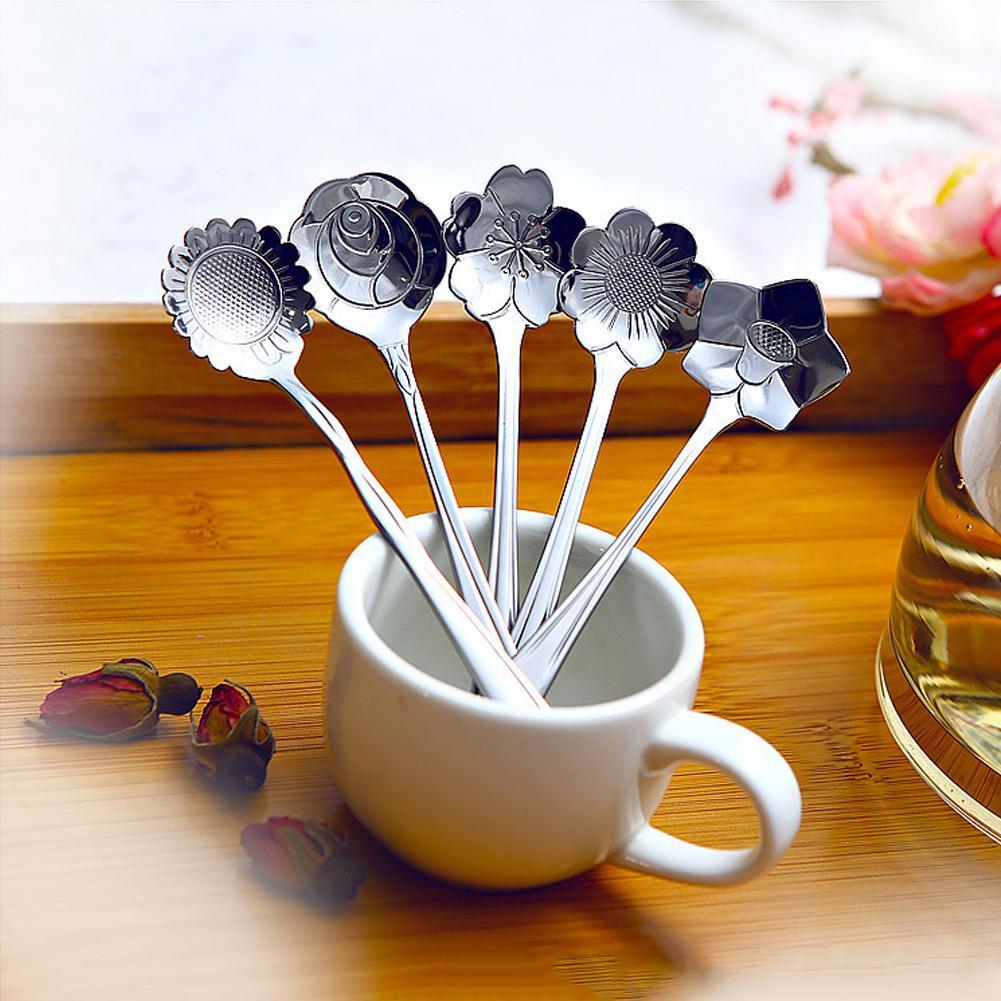 5pcs ciliegio in acciaio inox rosa girasole coreopsis platycodon grandiflorum cucchiaino da caffè di misura a forma di cucchiai