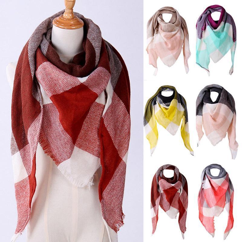 Cappellini da ciclismo Maschere # r30 autunno inverno inverno donna sciarpa di lana donne cashmere sciarpe plaid scialle wrap corean style bufandas invirio mujer