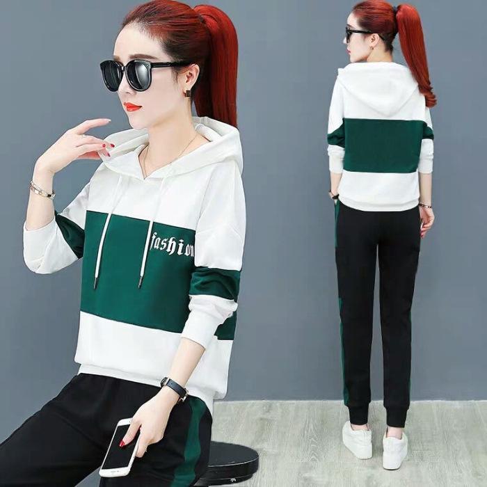 2019 весной и осенью свитера нового погонных спортивного костюм женщины вскользь корейский стиль свободного похудения с капюшоном свитера большого размера из двух частей набора Fw