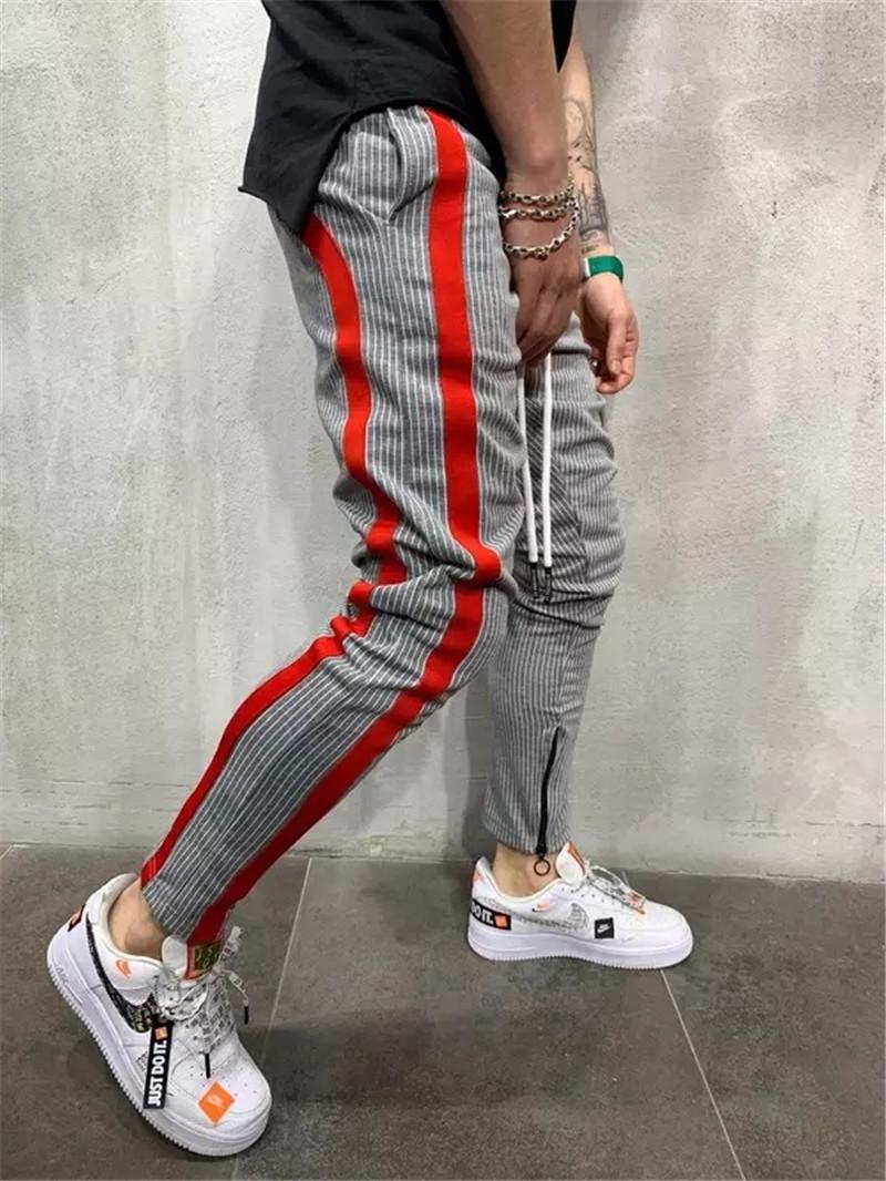 Couleur Patchwork Hommes Pantalons Casual Slim rayé cordonnet Crayon Pantalons Zip Mode Hip Hop Vêtements pour hommes