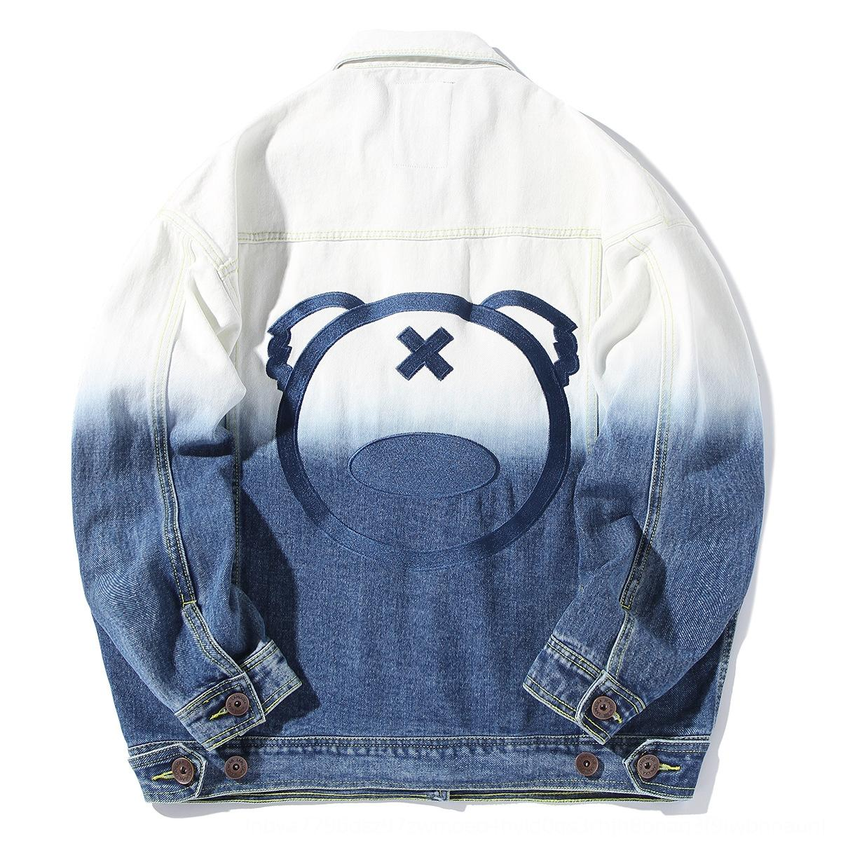 Primavera New panda bordado lavado gradiente denim moda masculina jovem solta jaqueta jeans jaqueta C4JjG