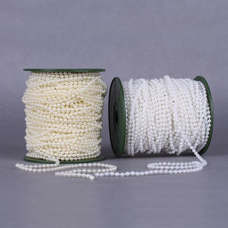 20meters 4mm Pearl Spray Strands Garland Spool Bridal Beads String for Wedding Christmas Party Centerpiece Favor Crafting Decor Supplies