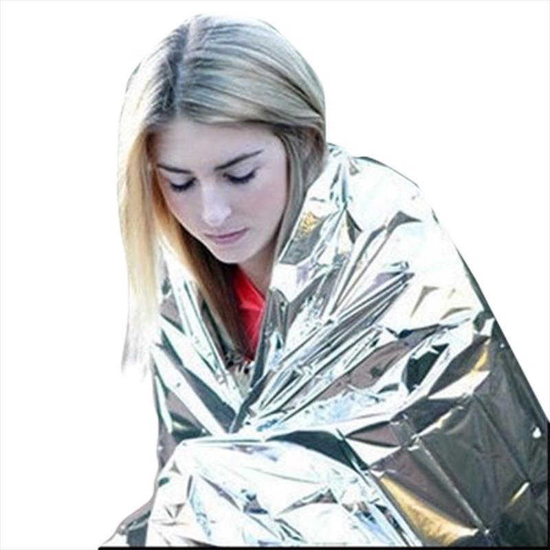 210 * 130cm im Freien Sport Bergsteiger Lebensrettung Militär Notdecken Überlebens-Rettungs Isolation Vorhang Decke Silber Hot Verkauf FWC955
