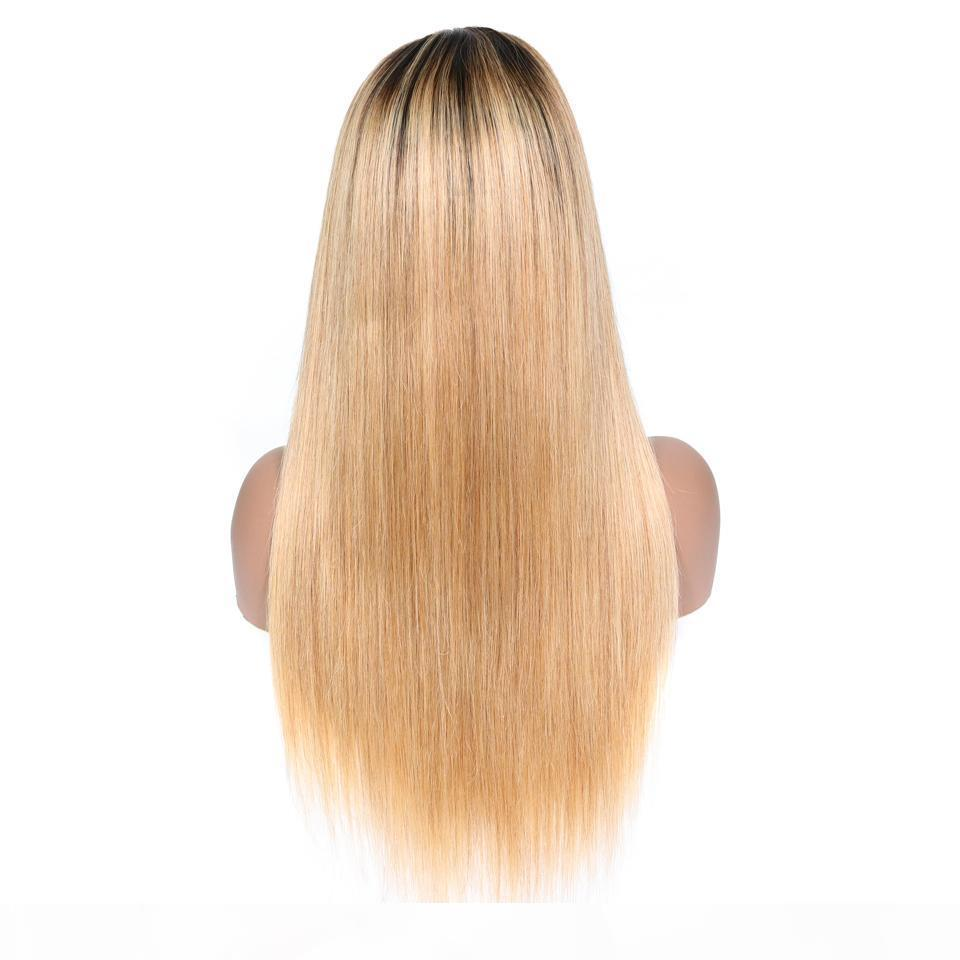 Full Lace Humanos perucas de cabelo retas Natural da linha fina de Remy do brasileiro do cabelo rendas frente Wigs com o bebê cabelo descolorido Knots