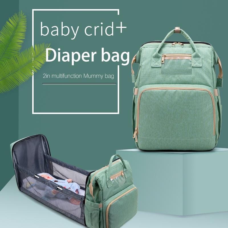Grande Capacidade Fralda Saco Mummy Birthing Backpack Travel Portable Ombro Multifuncional Dobra Cama Sacos Impermeável Pacote elegante LJ200827