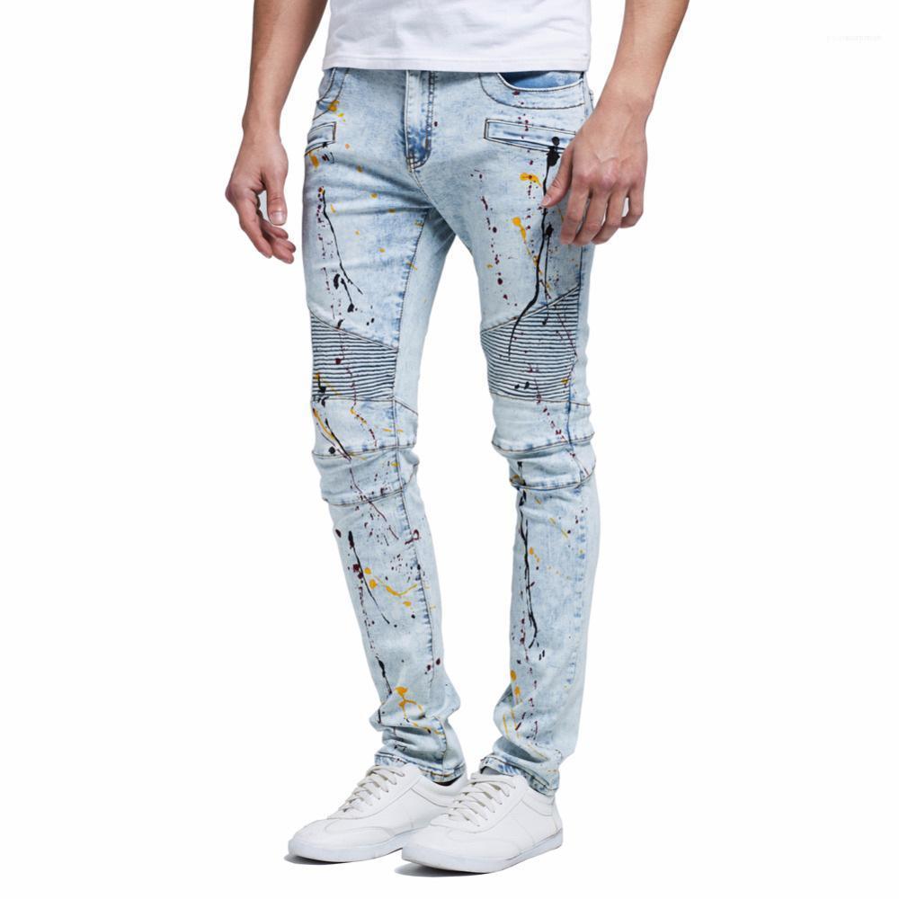 Drapée Distressed longue 19FW Rue Jean Pants Hiphop Mens Designer Washed Blue Jeans